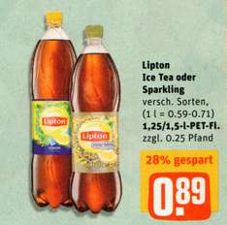 [REWE] 7 Flaschen Lipton Ice Tea oder Sparkling 1,25l / 1,5l versch. Sorten für 0,60€/Flasche (Angebot+Coupon)