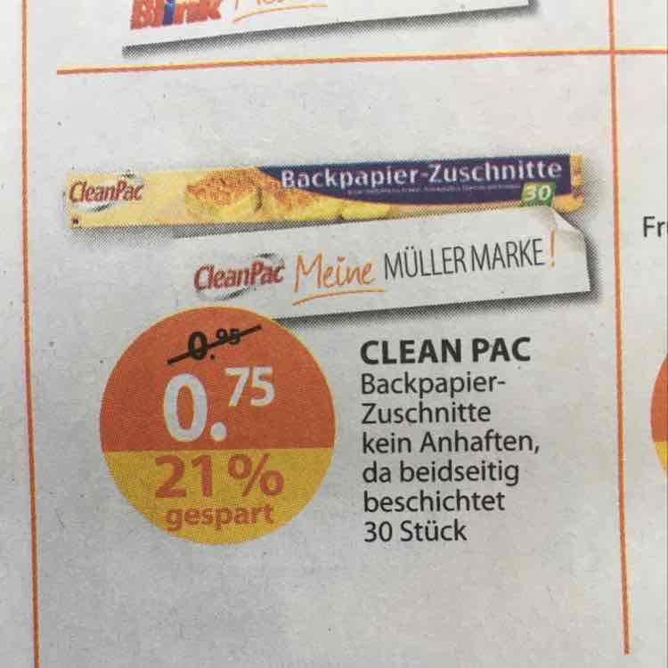 Drogeriemarkt MÜLLER - Backpapierzuschnitte - kosten bei Aldi und Co immer 0,95€ - 10% Gutschein zusätzlich möglich - Lokal Bayern?