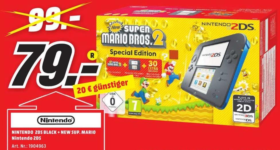 [Lokal Media Markt - Aachen, Eschweiler, Hückelhoven, Herzogenrath] Nintendo 2DS schwarz/blau + New Super Mario Bros. 2 für 79 Euro