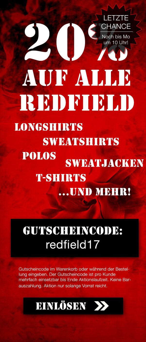 Noch bis Montag 10:00 Uhr 20% auf Redfield-Artikel im Over-Size-Shop!