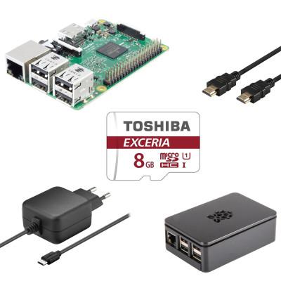[notebooksbilliger] Raspberry Pi 3 Multimedia Bundle Raspberry Pi 3 Model B Gehäuse + Netzteil + 8GB Speicherkarte + HDMI-Kabel
