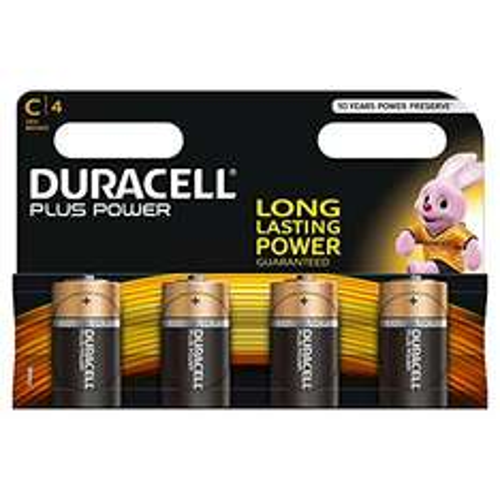 [Amazon Plus Produkt] Duracell Plus Power Typ C Alkaline Batterien, 4er Pack