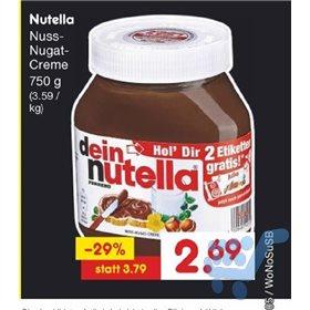 nutella 750g für 2,69€ bei Netto Marken-Discount diesen Donnerstag, Freitag und Samstag