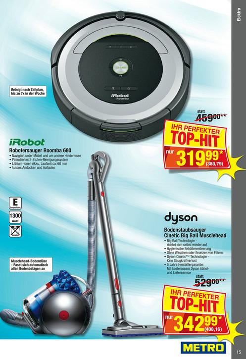 Metro-Offline: iRobot Roomba 680 mit Rabattcupon 342,71 EUR
