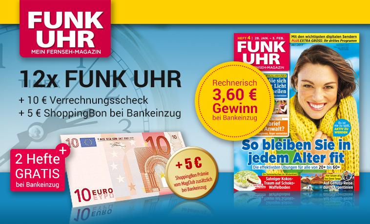 [MAGCLUB] Funk Uhr Magazin - 12 Ausgaben für 11,40€ + 10€ Verrechnungsscheck + 5€ ShoppingBon (inkl. Amazon)