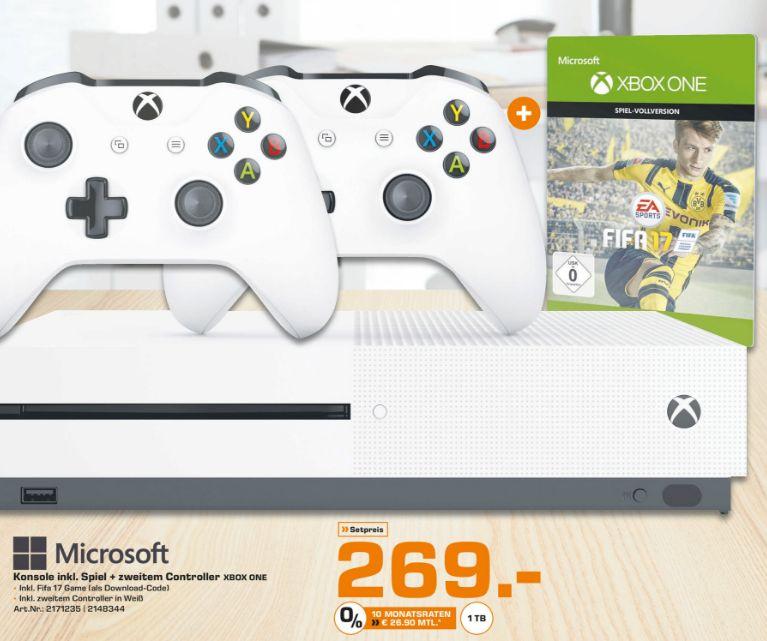 [Lokal Saturn Bremen] Xbox One S Konsole mit 1TB Speicher als Fifa Bundle mit 2. Controller für 269,-€