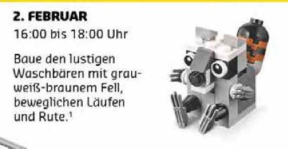LEGO - gratis für Kinder: Kostenloser Monatlicher Minimodellbau am 02.02.17 (Waschbär)