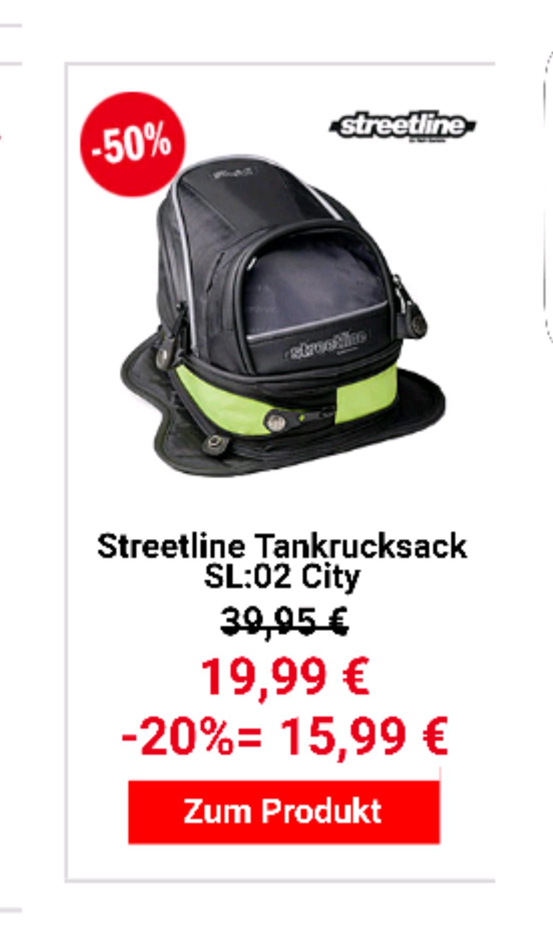 20% auf reduziertes z.b. 15.99€ Tankrucksack Streetline Magnet Hein Gericke
