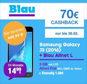 Blau Allnet mit 3GB lte und Galaxy J3(2016) mit Cashback u Handyverkauf effektiv 8,17€ monatlich