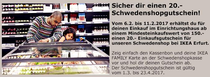 [IKEA Erfurt] 20,- € Schwedenshopgutschein ab 150,- € Einkaufswert
