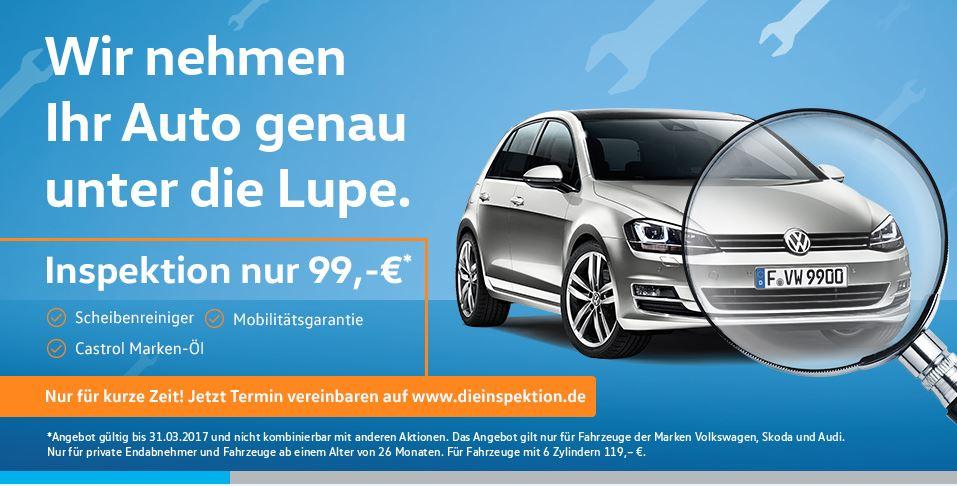 [lokal Frankfurt] Inspektion 99€ für VW/Audi/Skoda inkl. 4l Öl und Schreibenreiniger