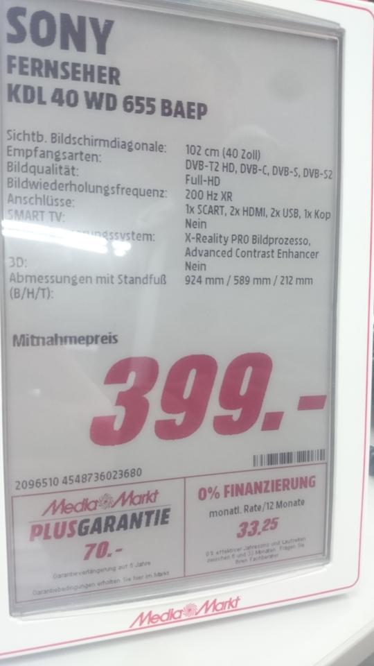 [Lokal]Sony kdl 40 Wd 655 Mediamarkt Ffm NWZ