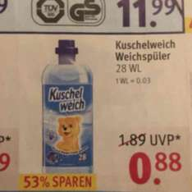 Kuschelweich Weichspüler für 0,88€ [Rossmann]