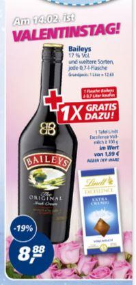 [offline real] Bailey's Irish Cream 0,7 l PLUS 100 Gramm Lindt Vollmilchschokolade (Wert 1,99) für zusammen nur 8,88€ statt 12,98€