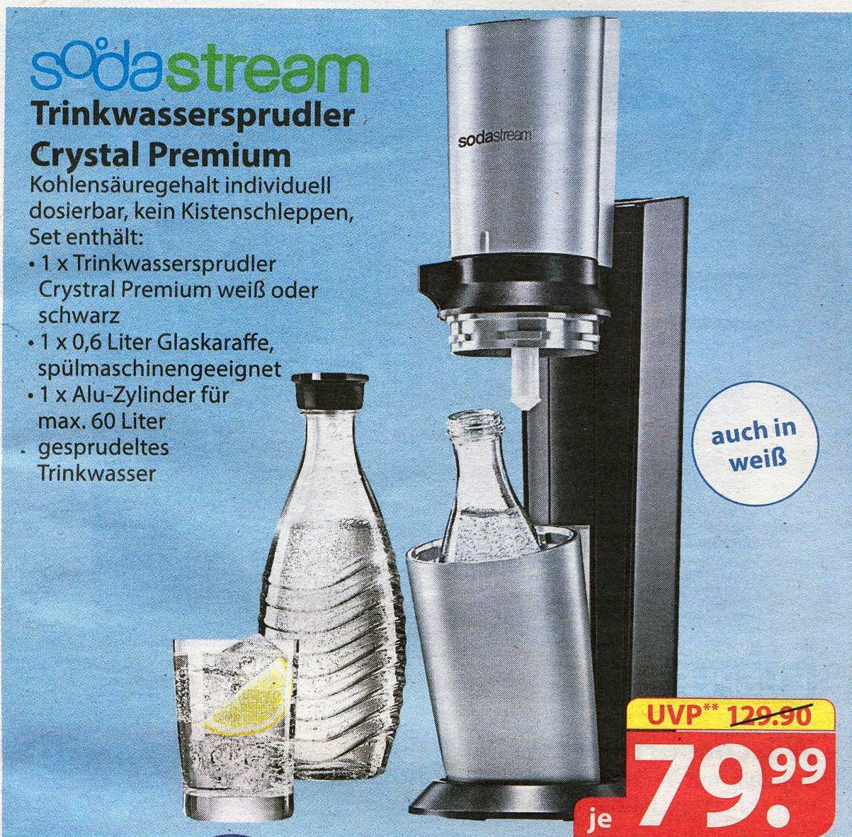 [famila nordost] SodaStream Wassersprudler Crystal Premium für 79,99 € inkl. 1 x 0,6L Glaskaraffe und CO2-Zylinder