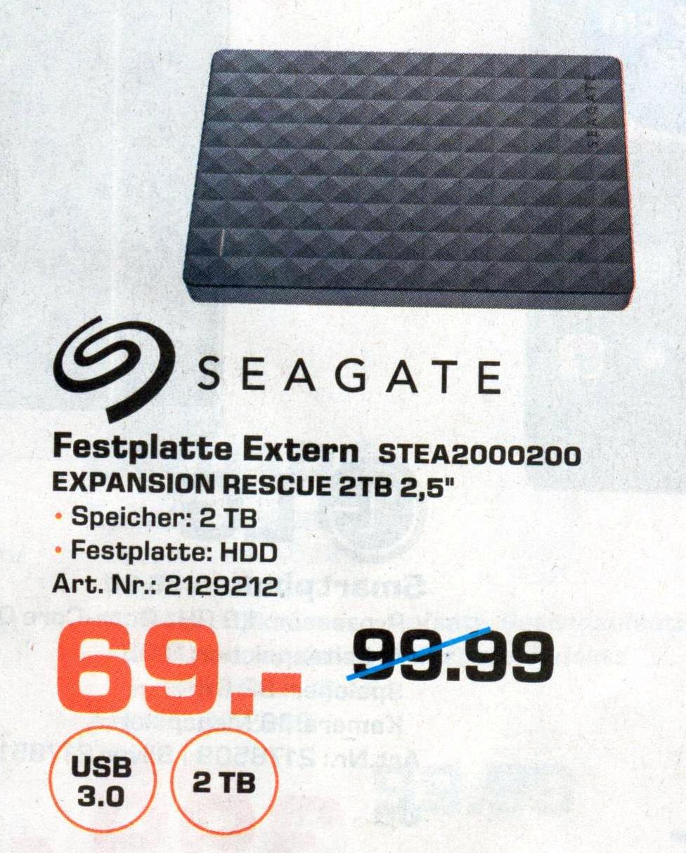 [lokal Saturn Flensburg] SEAGATE Expansion Portable Rescue Edition STEA2000200, Externe Festplatte, 2 TB, 2.5 Zoll für 69 €