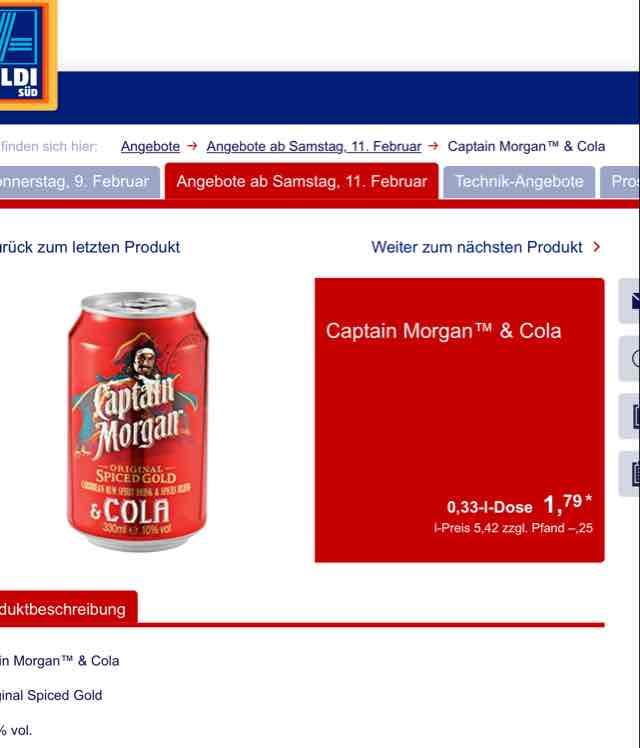 Aldi Süd - Captain Morgan Cola 0,33 Dose - am 11.02.2017 - Vergleichspreis Idealo 2,49€