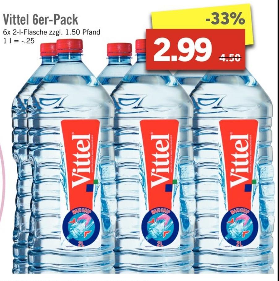[LIDL] Vittel Wasser 6er-Pack 2 Liter ab 06.02. bis 11.2.