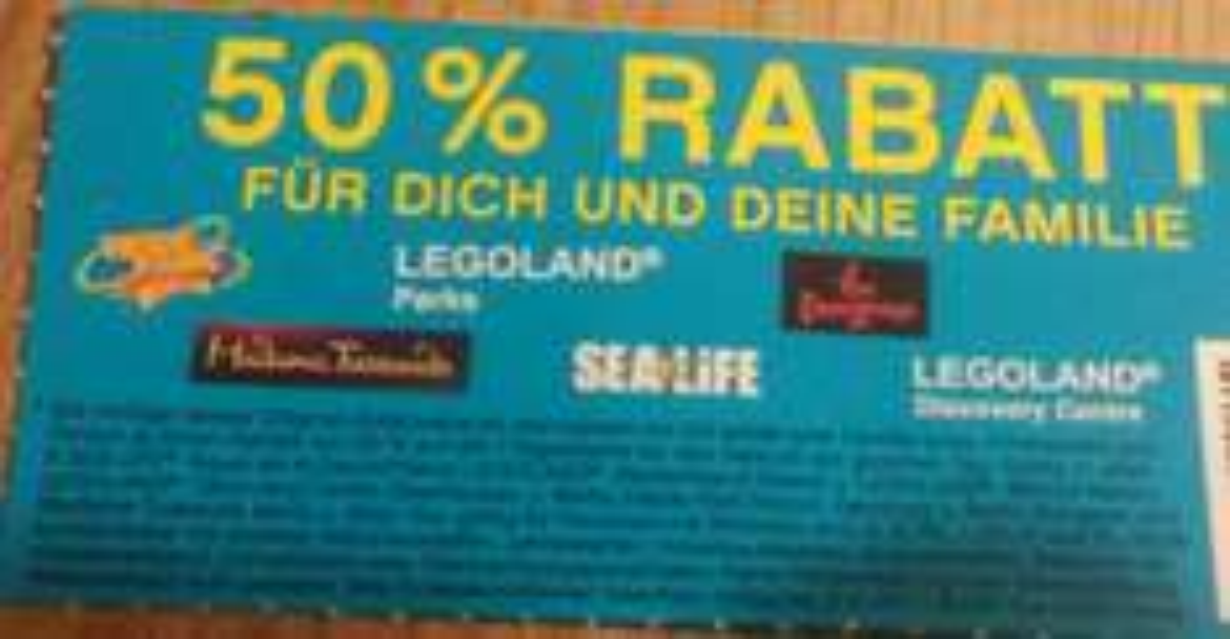 50% Rabatt Coupon für Legoland /Heidepark usw..