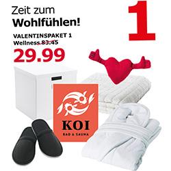 [Kaiserslautern] IKEA Valentinspaket mit Saunagutschein, Bademantel, Handtuch etc. für 29,99€ statt 83,45€