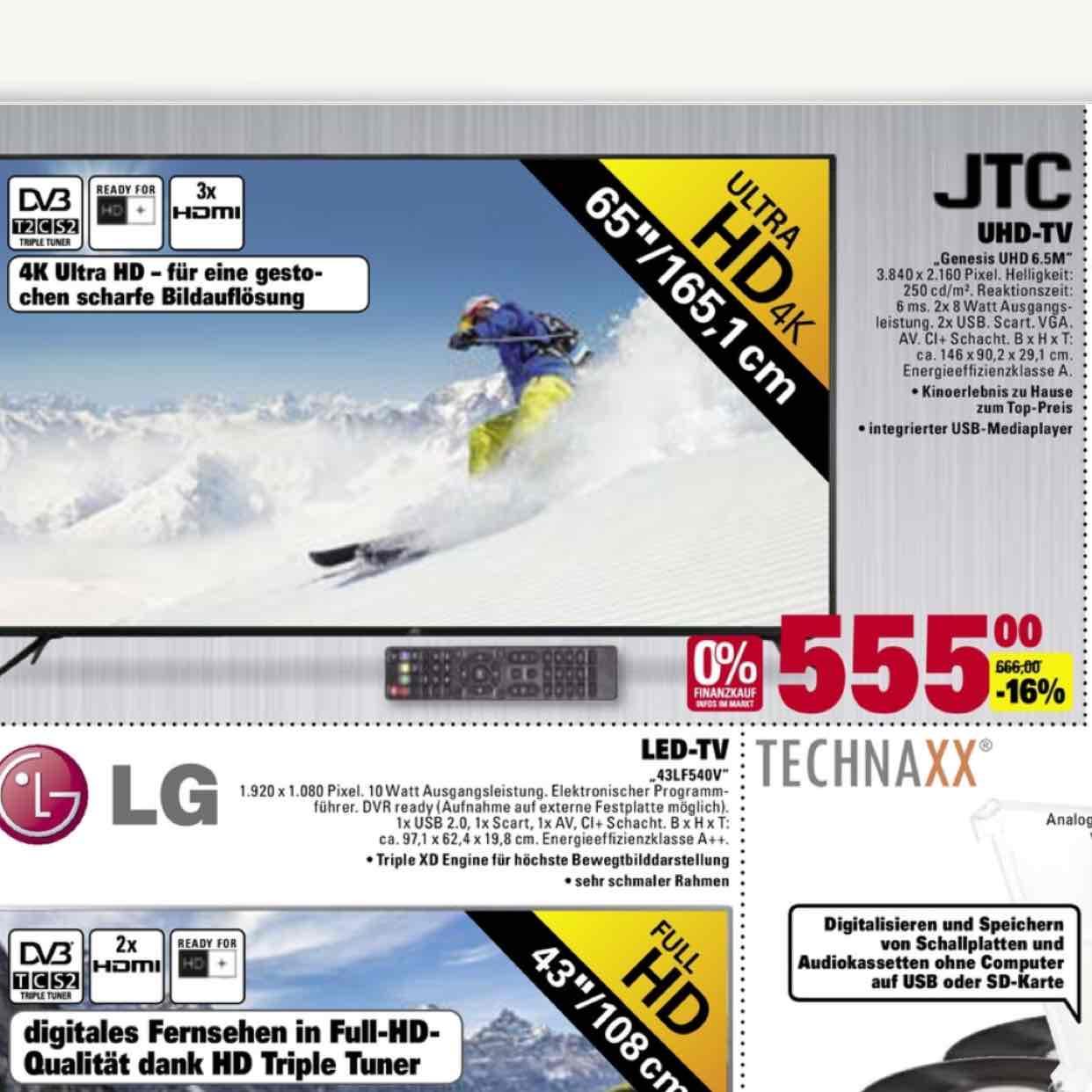 """(Lokal?!) JTC 65"""" UHD TV für 555€ Marktkauf Stuttgart Feuerbach"""