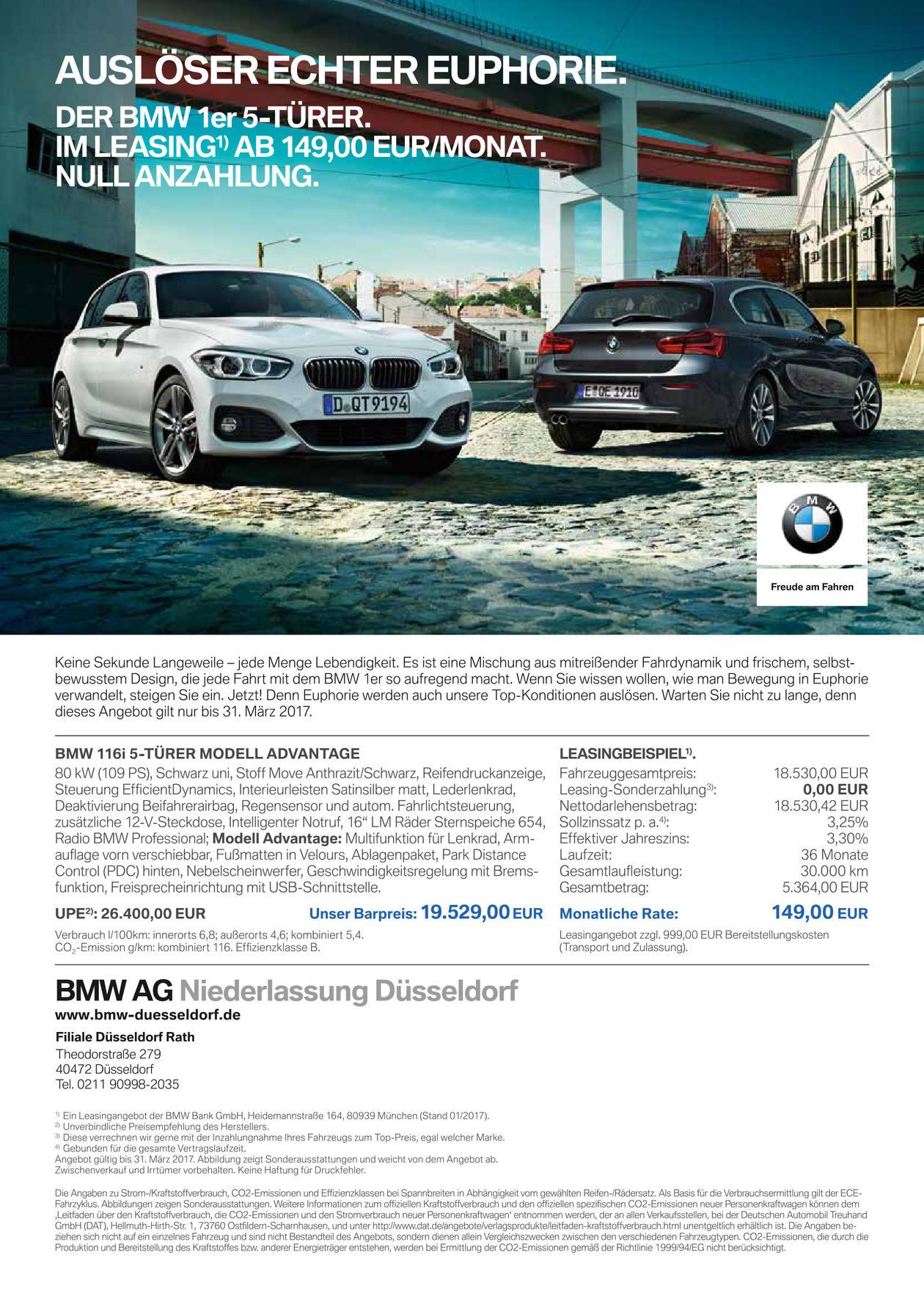 [Düsseldorf] Leasing 1er BMW 149 € ohne Anzahlung