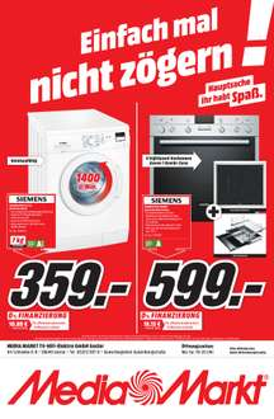 Media Markt Goslar Lokal: SIEMENS WM 14 E 2 B 1 Waschmaschine (7 kg, 1400 U/Min, A+++)