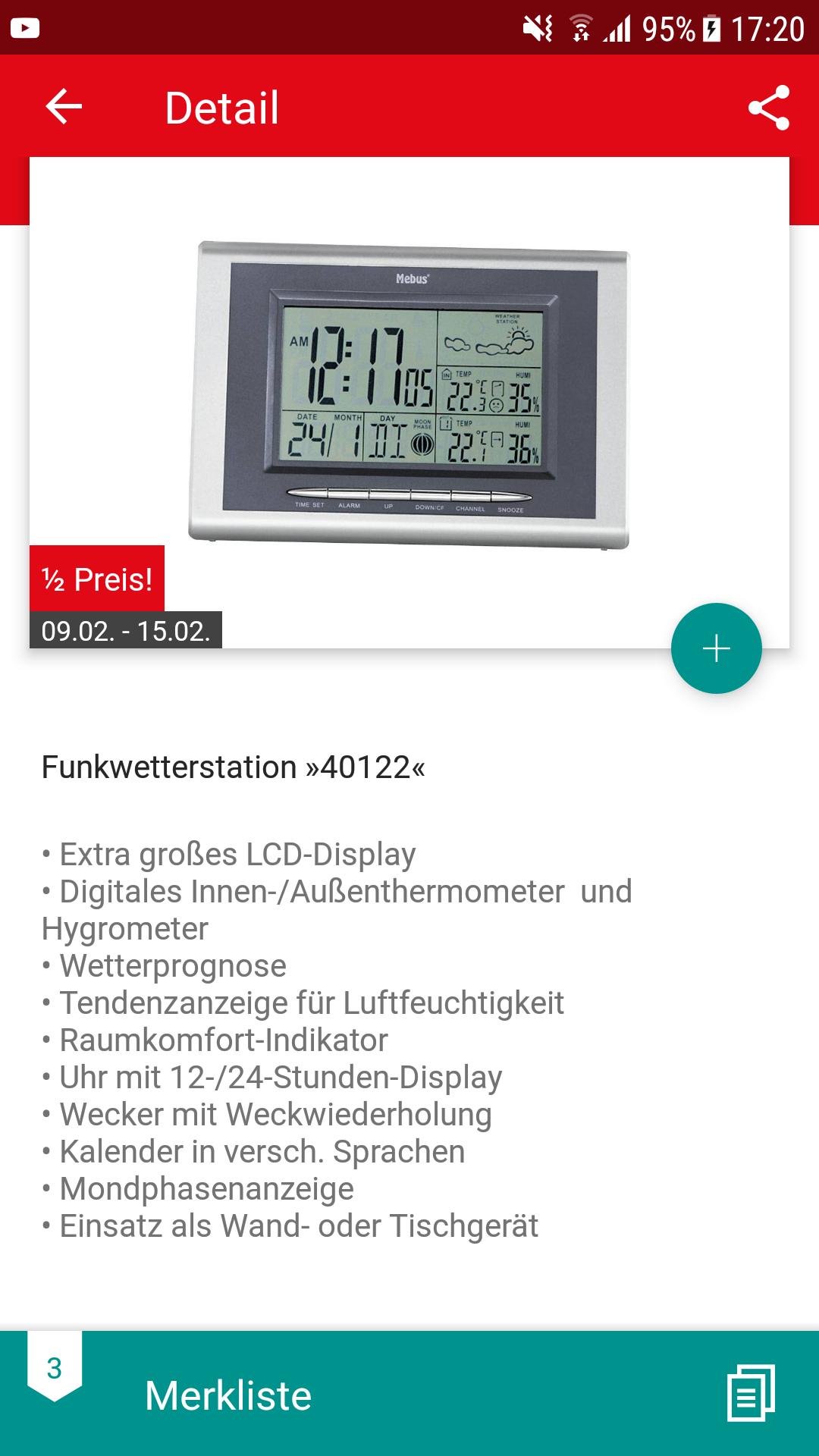 [AB 09.02.] Kaufland: Mebus 40122  Funk-Wetterstation für 15€