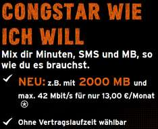 Neue Tarifkonditionen bei Congstar: Datenvolumen 1GB für 8€ / 2GB für 13€