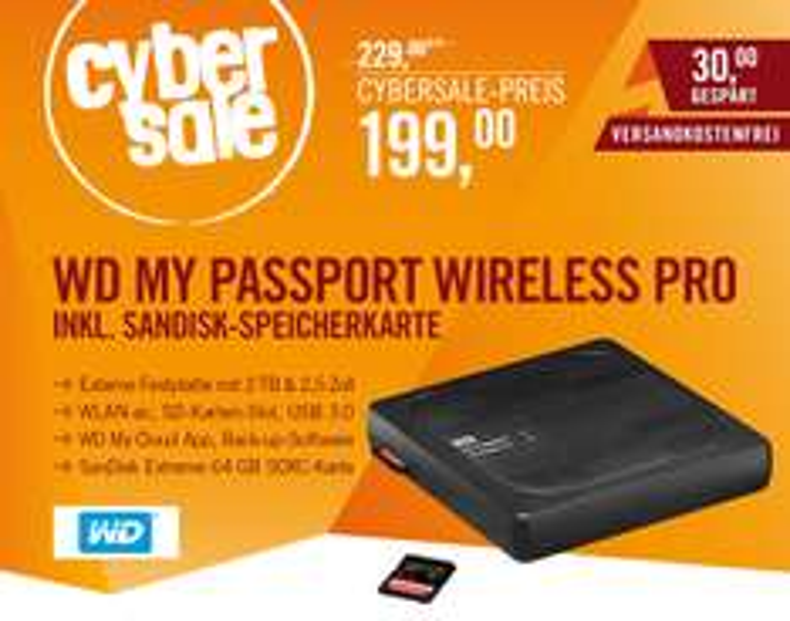 WD My Passport Wireless Pro 2TB Bundle mit 64 GB Sandisk Extreme SDXC-Karte