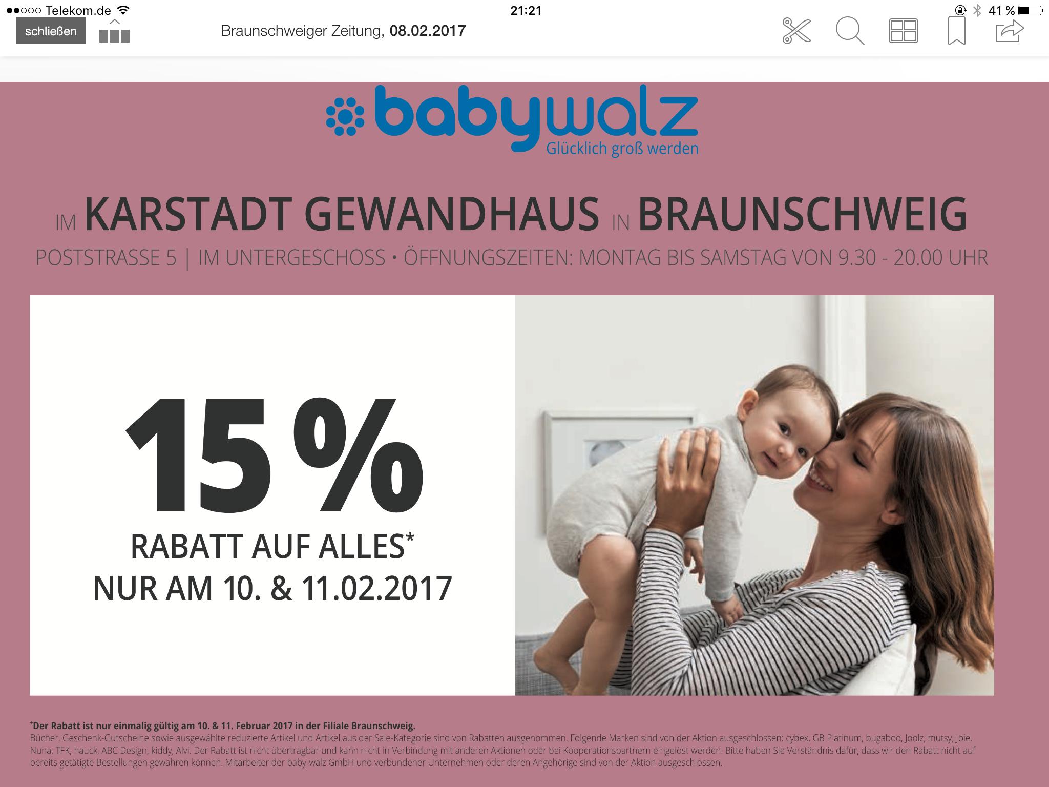 Baby Walz 15% auf alles (vieles) - Lokal Braunschweig