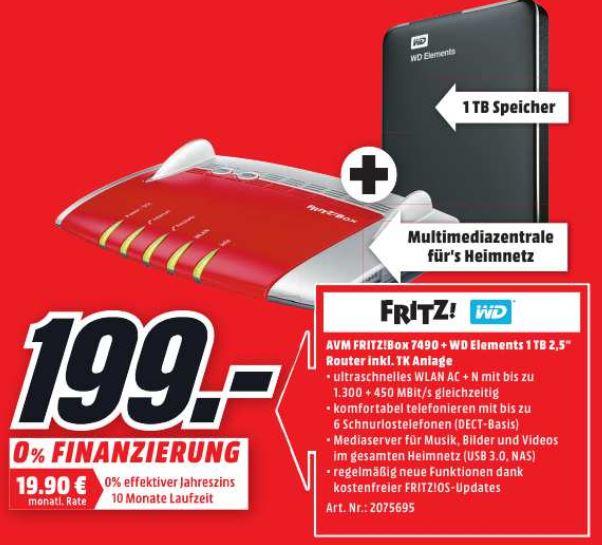 """[lokal] [Media Markt Berlin/Brandenburg] AVM FRITZ!Box 7490 im Set mit WD Elements 1TB 2,5"""" für 199 Euro"""