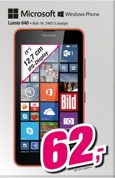 [Lokal Telepoint Lemgo] Microsoft Lumia 640 Dual-SIM LTE Smartphone (12,7 cm (5 Zoll) HD-IPS-Display, 1,2 GHz-Quad-Core-Prozessor, 8 Megapixel-Kamera, 2500 mAh Akku, 3G & 4G LTE, Dual-SIM, Windows Phone 8.1),Orange für 62,-€
