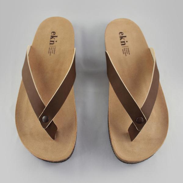 Ekn Leder Herren Sandalen Zehentrenner Flip-Flops Fair produziert Natürlich gegerbtes Leder