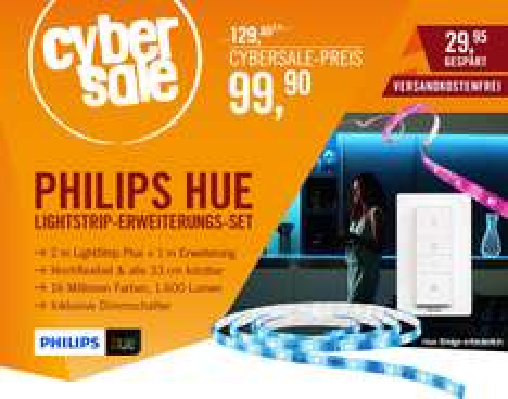 [Cyberport] Philips COL Hue LightStrips+ LED Streifen Set 2m + 1m Erweiterung + Dimmschalter