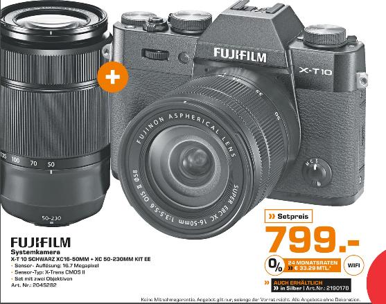 [Lokal Saturn Heidelberg] Fujifilm X-T 10 inkl. XC 16-50mm & XC 50-230mm Objektiv