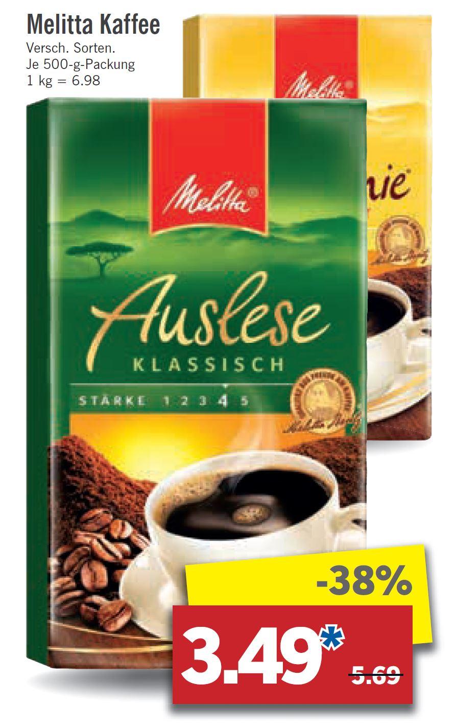 Kaffee Melitta Auslese bei Lidl für 3,49 €,