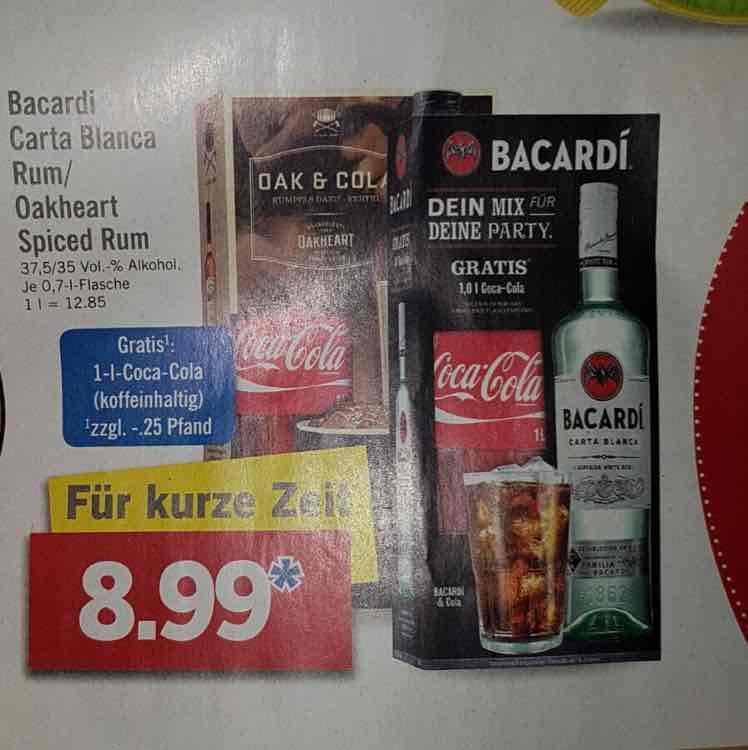 [LIDL] BACARDI Carta Blanca/Oakheart +1L Coca-Cola ab 13.02.