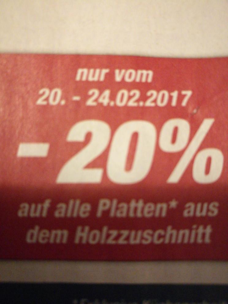 [Toom Baumarkt] 20% auf Holzplatten aus dem Holzzuschnitt (20.-24.02.2017)