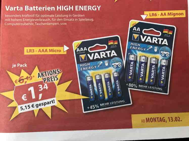 [Sonderpreis Baumarkt / vor Ort] VARTA High Energy LR6 AA Mignon Batterien 4St. für 1,34€