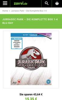 [Zavvi] Jurassic Park Collection 1-4 Blu-ray 12,03€ (VGP 16€)