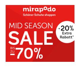 [Mirapodo] SALE mit bis zu 70 % Rabatt + 20 % Gutschein (Beipsiele im Deal)