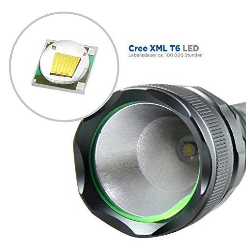 LED Taschenlampe Cree XML T6/500 Lumen /5 Modus Regulierbar/ IP65 Wasserdicht/18650 wiederaufladbare Batterie+Batterieladegerät für 9,99 € statt 22,99 €