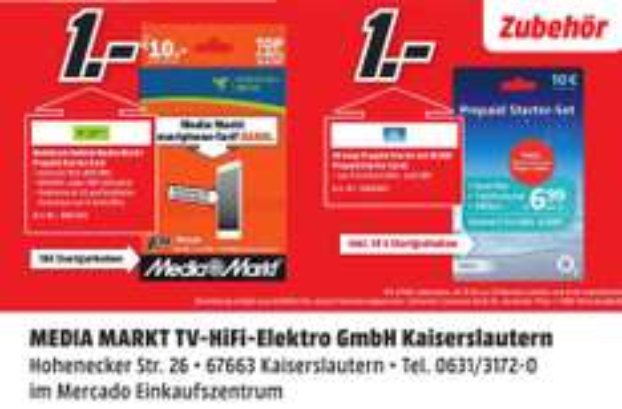 lokal MM Kaiserslautern - o2 / mobilcom-debitel Prepaid StarterSet inkl. 10€ Guthaben für je 1€
