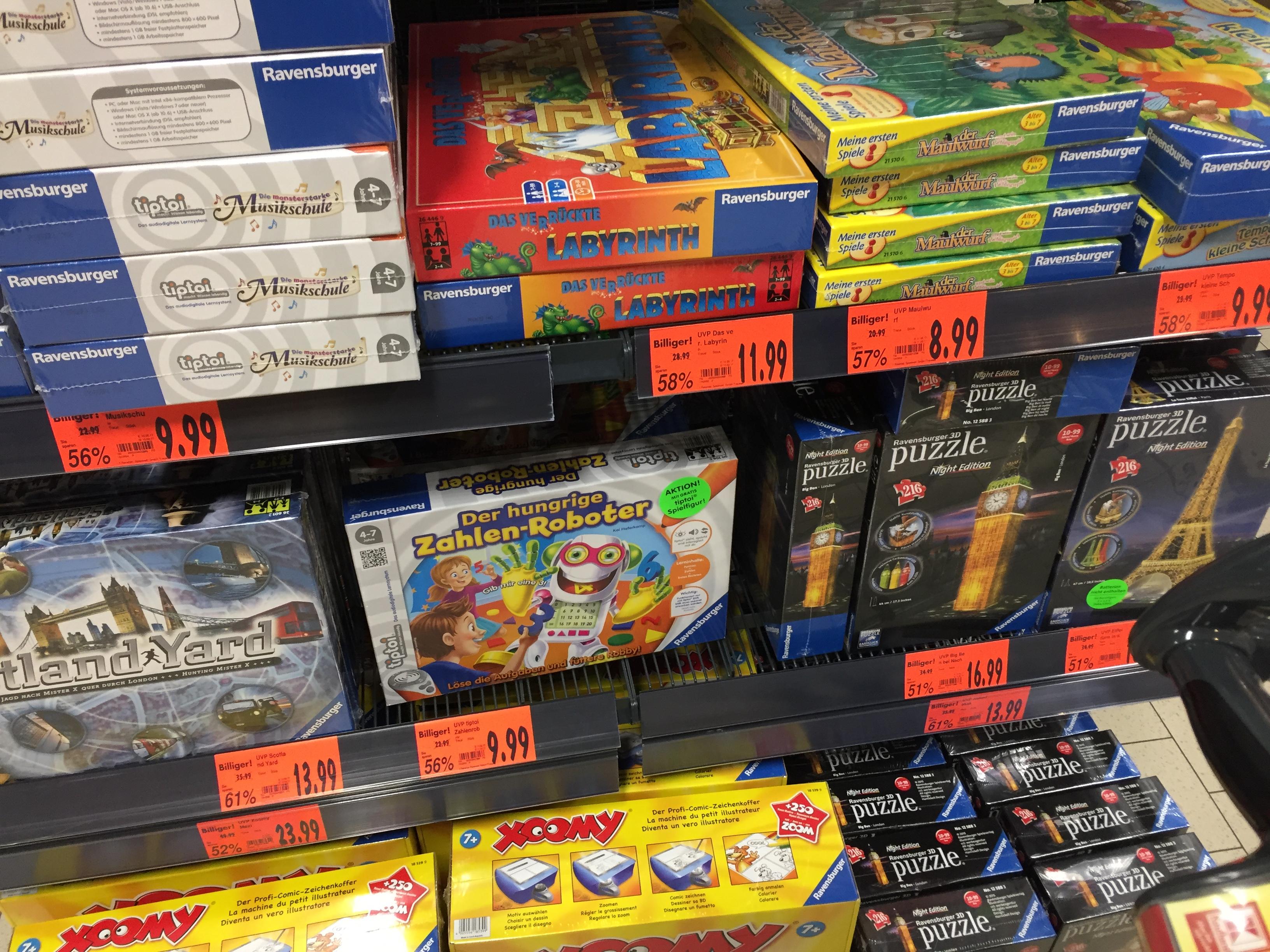 Diverse Ravensburger Brettspiele extrem reduziert, Das verrückte Labyrinth 11,99€, Scotland Yard 13,99€ uvm. @ KAUFLAND Würselen