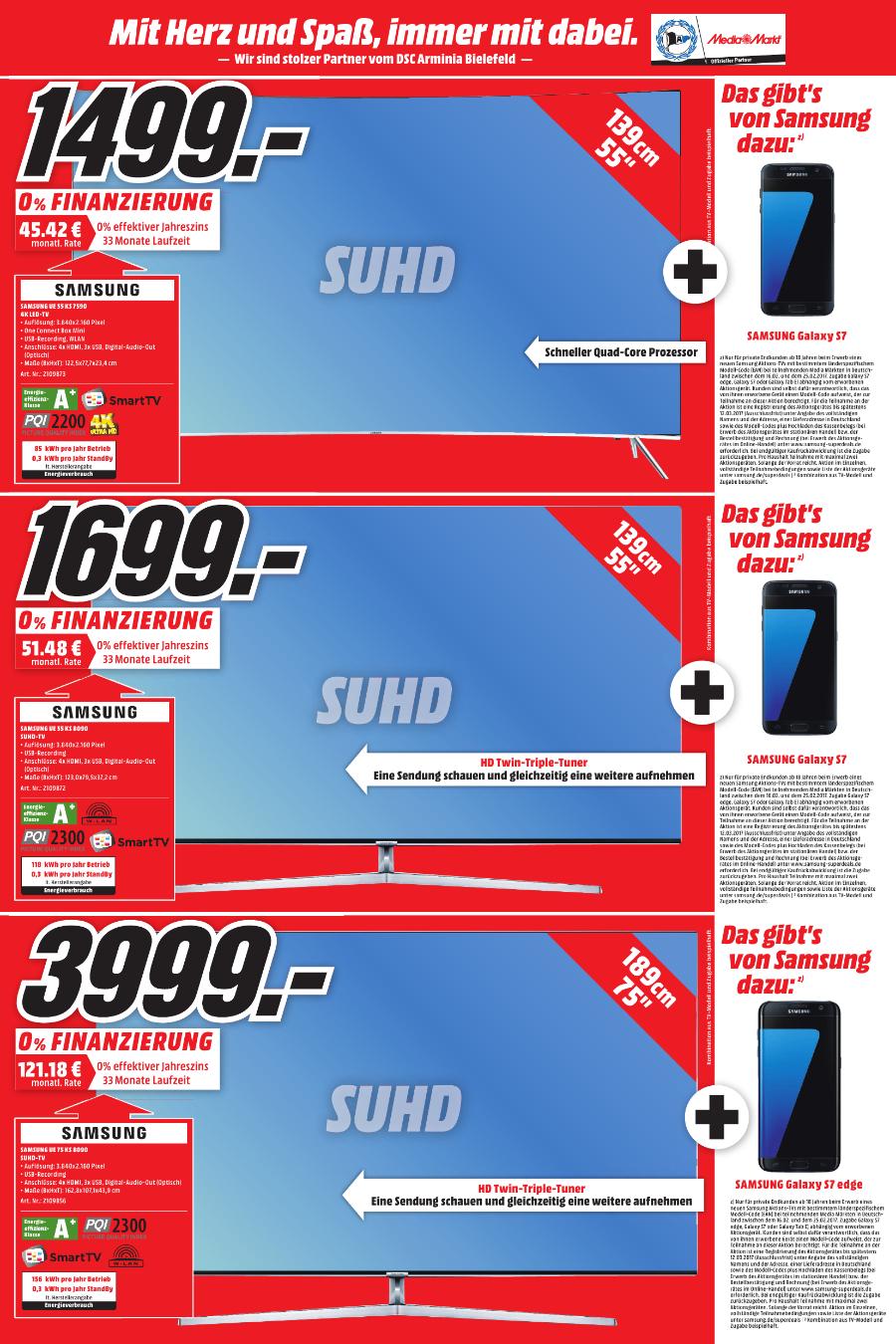 (Lokal Gütersloh)(MM) Samsung UE 75 KS8090 für 3999€ + S7 Edge Cashback,55 KS8090,55 KS7590