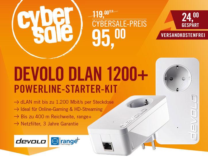 [Cyberport] devolo dLAN 1200+ Starter Kit Powerline (1200 Mbit/s Internet über die Steckdose, 1x LAN Port, 1x Powerlan Adapter, integrierte Steckdose, PLC Netzwerkadapter) weiß