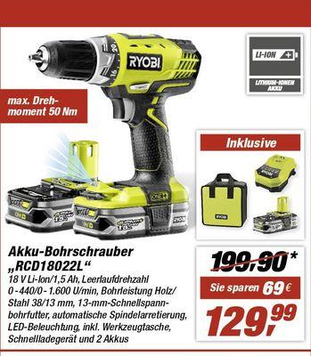 """Akku-Bohrschrauber """"RCD18022L"""" von Ryobi bei toom für 109,99€ (Bundesweit)"""
