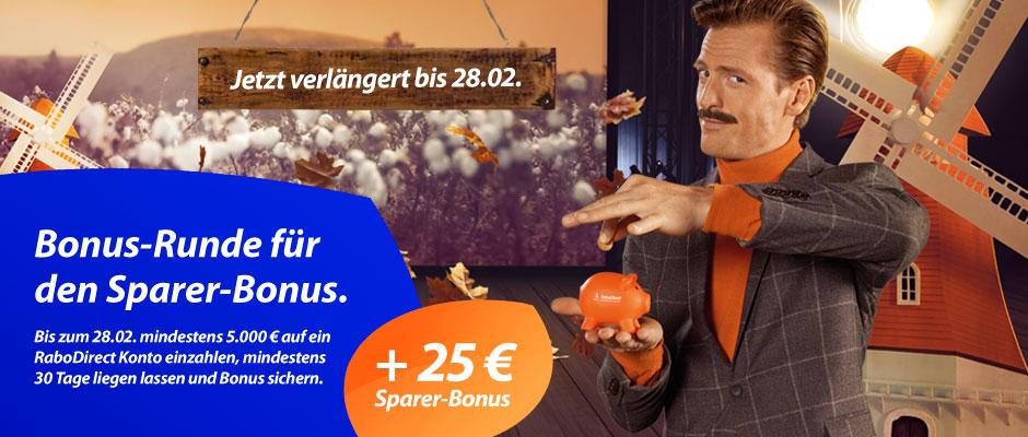 25 EUR Bonus von der Rabobank für einen Gesamtsaldo iHv 5.000 EUR