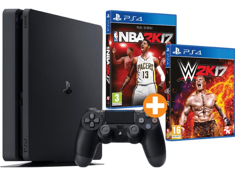 SONY PlayStation 4 Slim Konsole 500 GB (CUH-2002) NBA 2K17 + WWE 2K17 für 288€ [Saturn.at]